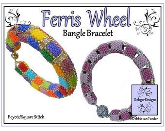 Beading Pattern, Tutoria, Bangle Bracelet - FERRIS WHEEL