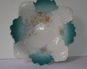 Scalloped Edge Blue and White  Porcelain Serving Dish, R.S. Prussia Style, Studio Line Pottery, Art Pottery Dish, Antique Serving Bowl