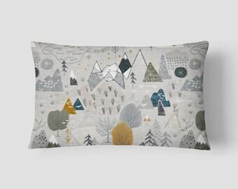 """Max's Map // Decorative Pillow Cover 12""""x18"""" // Lumbar Pillow // Rectangular Throw Pillow"""