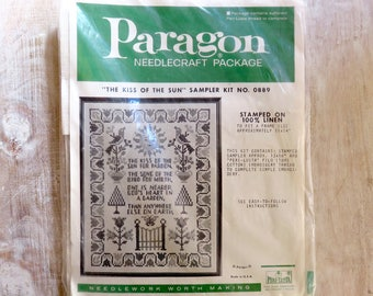 Paragon Needlecraft Package The Kiss of the Sun Sampler Kit Stamped Linen No. 0889