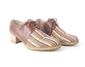 1990s Lace Up Oxfords Vintage 90s Canvas Shoes Jute Soft Brown Leather Oxfords Womens Platform Chunky Low Heel Shoes Size 6 E920