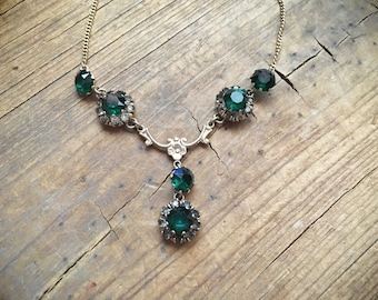 1940s necklace by Vargas 1/20 10k gold filled emerald color crystals, vintage Lavalier necklace, green necklace, birthstone May birthday