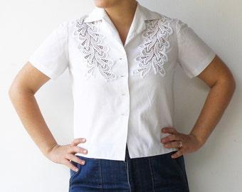 Vintage White Blouse / Cut Out Shirt / Size L