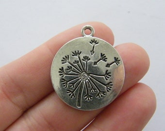 4 Dandelion charms antique silver tone F185