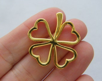BULK 20 Four leaf clover charms gold tone GC88