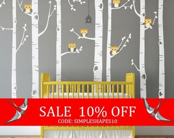 Sale - Birch Tree with Owls Wall Decal, Wall Mural, Baby Nursery Decor, Nature Wall Decals, Wall Decor - W1112