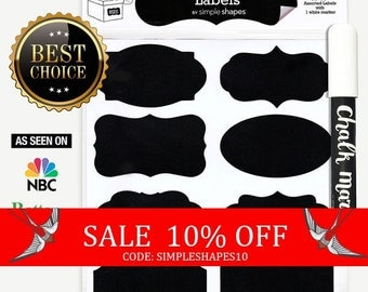 Sale - SALE - Chalkboard Labels Bundle, 40 Premium Stickers for Jars, bottles, containers + (1) Chalk ink Marker Included
