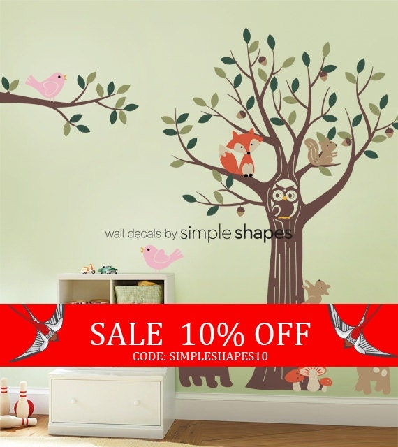 Sale - Forest Friends Tree Decal Set - Kids Wall Decals, Baby Nursery Wall Decals