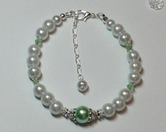 White Pearl and Crystal Peridot Bridal Brdesmaid Bracelet