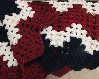 Hand Crocheted Decorative Throw Afghan Blanket in Red, White and Blue Chevron Zig Zag