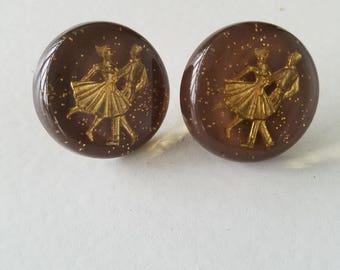 Brown Glitter Resin Circular Earrings with Dancers