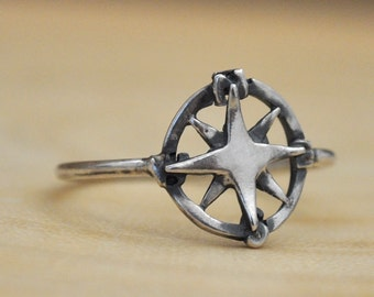 STERLING COMPASS RING hand made sterling silver ring with compass charm