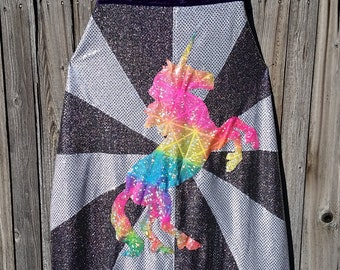 Fancy Prancy Rainbow Unicorn Adult Length Cape with Burst Stripes in Silver and White Sequin with Purple Faux Velvet Lining