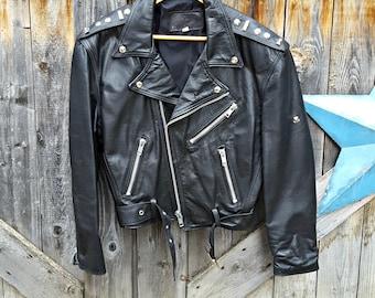 1980's Egyptian biker jacket, men's small, black leather