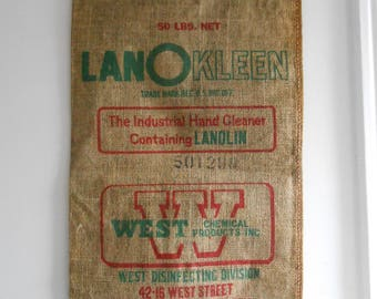 Vintage Rare Burlap Advertising Sack West Chemical Tall Burlap Sack Farm-Cottage Decor Wall Decor Late 50's to Early 60's Era
