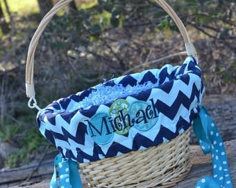 Easter Basket with liners and egg applique  for Girls or Boys Easter Basket Personalized with name NEW This Year