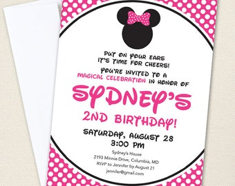 Minnie Mouse Birthday Invitations (Pink) - Professionally printed *or* DIY printable