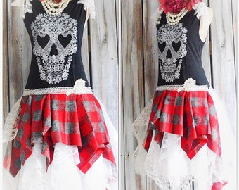 Grunge black Skull dress, Punk princess tartan plaid, Romantic goth dresses, boho gothic princess lace skull, lagenlook, true rebel clothing