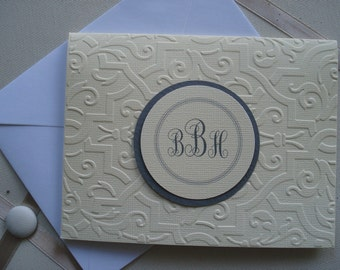 Embossed with Placard for Your Monogram  Set of Five