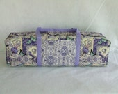 Carrying Case for the Cricut Explore / Explore Air / Brother ScanUcut /Silhouette Cameo 3 / Purple Garden Print Fabric with Purple Strapping