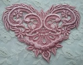 Victorian Shabby Chic Pink Valentine Lace Heart Medallion Hand Dyed Applique Embellishment