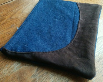Denim clutch with reclaimed dark brown decorative leather piece - floral cotton lining