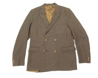 Early 1960s Double Breasted Sack Jacket Vintage Retro Olive Brown Ivy League Sport Coat Size 36 Short XS/Small