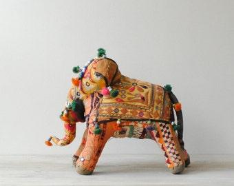 Vintage Stuffed Elephant Indian Folk Art Toy, Soft Sculpture Animal from India