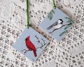 Christmas Ornaments Hand Painted  on Wood - Cardinal and Chickadee Birds - Winter Scene
