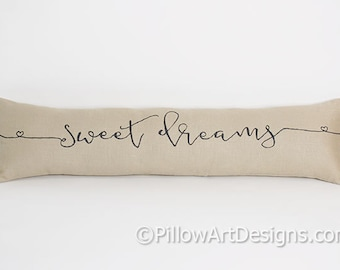 Sweet Dreams Pillow 6 X 18 Beige Cotton Hand Painted Made in Canada