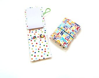 Crayon wrap roll, coloring travel activity, kids birthday party favor, alphabet polka dots colorful bright