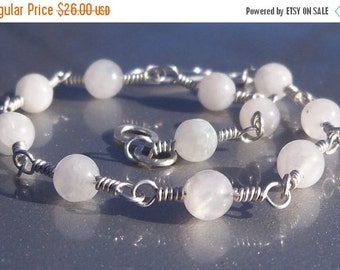 15% OFF SALE 9 Inch Rainbow Moonstone Gemstone Argentium Sterling Silver Wire Wrapped Bracelet