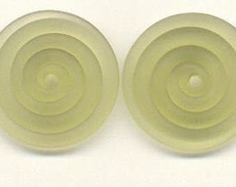 19.75mm, Tom's handmade lampwork transparent Satin (etched) frosted Mojito green 2 disc beads spacer/drop/clasp, 1 pair, 97565