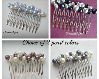 Bridal comb, Wedding hair comb, Pearl rhinestone fascinator, Navy blue grey pearl mix, Bridesmaid accessories, Beaded pearl silver comb