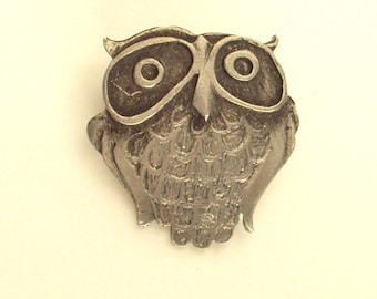 Owl Brooch, Pewter, Signed, Vintage