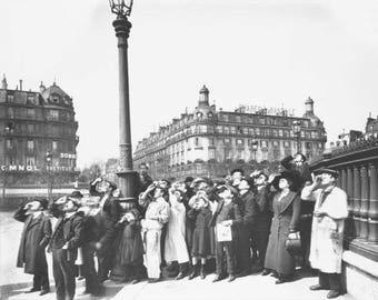 People Watching Solar Eclipse 1911 Paris by Eugene Atget French Photographer Edwardian Parisian Photography Black & White Photo Print