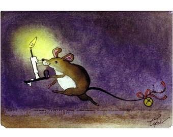 Christmas Card, Mouse Christmas Greeting Card, Christmas Watercolor Painting Print Funny Mouse Mice Happy Holidays Card 'Jinglemouse'