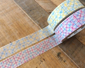 MT 2017 - Japanese Washi Masking Tapes / Check Collage Pink or Yellow for journaling, scrapbooking, packaging, party deco, card making
