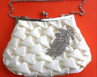 Bridal Clutch - Ivory satin with Swarovski Crystal feather brooch