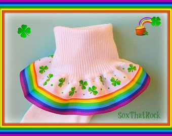 St. Patty's Day End of the Rainbow girls double ruffle socks in custom colors with Shamrock ribbon! Lucky socks!