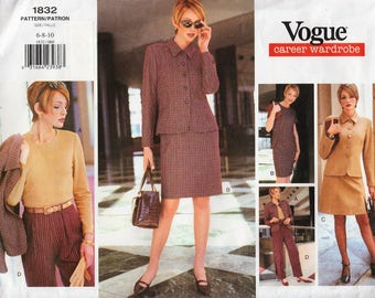 Vogue Wardrobe 1832 / Vintage Sewing Pattern / Dress Pants Trousers Blouse Jacket Skirt Shirt / Sizes 6 8 10