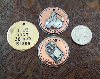 Custom Chocolate Kiss or Candy Bar Dog ID Tag - Pet ID Tag - Handmade ID Tag for Dog Collar