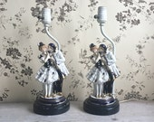 Vintage Pierrot Couple Lamps Pair Boudoir Lamp Black White Cobalt