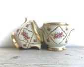 Two Vintage Porcelain Planters Boudoir Pots Planters Vessels Hand Painted Floral Gold Trim Victorian Waldorf Hollywood