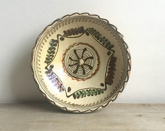 Vintage Mexican Clay Earthenware Bowl Terracotta Pottery Southwestern Design Natural Colors Tan Ivory Brown