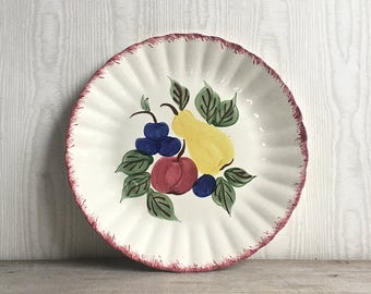 Vintage Blue Ridge Plate Southern Potteries Hand Painted Fruit Fantasy Pear Grapes Apple