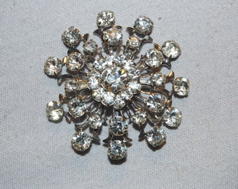 Vintage / Large / Clear / Sparkling / Silver Tone / Brooch / Rhinestones / old / jewellery / jewelry