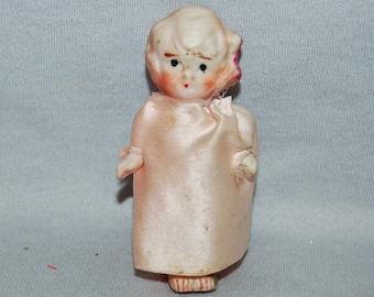 Flapper Bisque Doll / Vintage / Dress / Blond / frozen charlotte / penny doll / Vintage Dolls