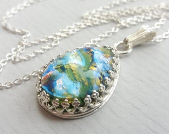 Sterling Silver Teardrop Blue Green Opal Necklace, Quality Crown Setting, Silver Chain, Also in Gold and Rose Gold Filled, October Birthday