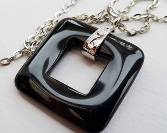 Black Agate Square Necklace, Boho Necklace, Black Agate Necklace, Silver Chain and Bail, Agate Donut, Geometric Necklace